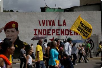 Chavez-inspired murals are scattered about in Venezuelan cities.