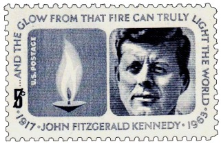 This stamp from 1964 is meant to commemorate the nationalist icon, JFK. He is honored with a depiction of the eternal flame.