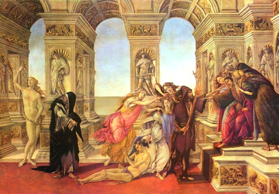 I am no making a value judgement on the Italian Renaissance -- there is little doubt that some of the work produced was breathtaking, as is the above piece inspired by the Anient Greek artist Apelles, The Calumny of Apelles by Sandro Botticelli.