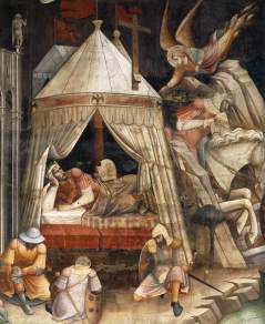 "The Dream of Emperor Heraclius (c. 1385-87) by Italian painter Agnolo Gaddi. An angel is depicted in the top-right corner playing into parallels of Walter Benjamin's ""Angel of History"" found in IX of his ""Theses on the Philosophy of History."""