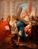 """Heraclius Carrying the Cross"" (1728) by French painter Pierre Subleyras. After the Byzantine victory at the Battle of Nineveh, Heraclius is said to have carried to True Cross to Jerusalem -- although this is more rooted in myth than truth."